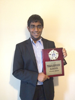 Karthik Ramachandran, 2012 U.S. Junior Open, U21 Section winner. Photo Courtesy USCF